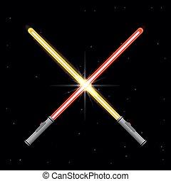 luce, spade, due, stelle, fondo.