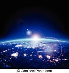 luce, spazio, illustrazione, vettore, orizzonte, terra