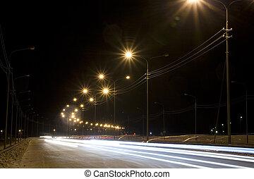 luce stradale, shined, lanterne, notte, tracce, gruppi ottici anteriori