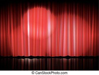 luce teatro, macchia, tenda, rosso, palcoscenico
