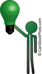 luce, uomo, verde, bulbo