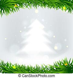 luce, vettore, albero, natale, fondo