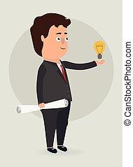 luce, vettore, bulb., illustration., uomo affari