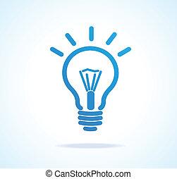 luce, vettore, bulbo, icona