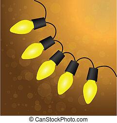 luce, vettore, bulbs., natale