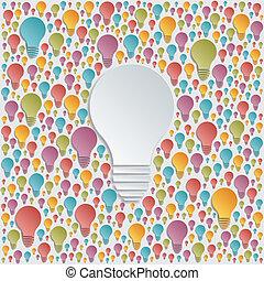 luce, vettore, fondo, lampadine