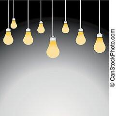 luce, vettore, illustrazione, lampadine