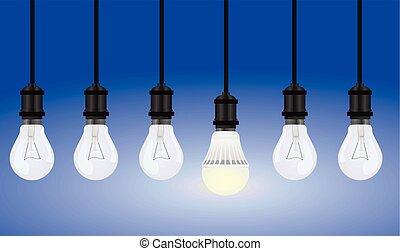 luce, vettore, lampadine