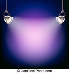 luce, vettore, proiettore, illustrazione, fondo.
