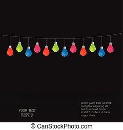 luce, vettore, set, colorito, lampadine