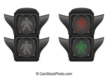 luce, vettore, traffico, illustrazione, pedoni