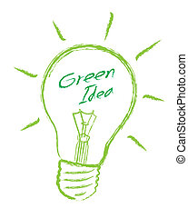 luce, vettore, verde, idea, bulbo