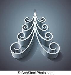 lucente, albero, natale, argento, 3d