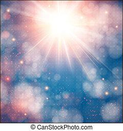 lucente, lente, sole, morbido, fondo, bokeh, flare., effect.