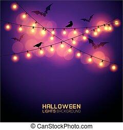 luci, ardendo, halloween