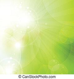 luci, astratto, verde, bokeh, fondo