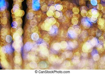 luci blu, oro, sfocato