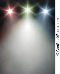 luci blu, verde rosso, palcoscenico