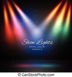 luci, colorito, fondo, palcoscenico