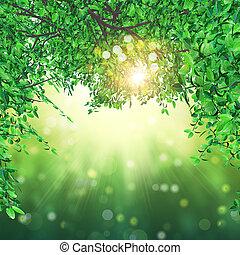 luci, foglie, bokeh, fondo, 3d