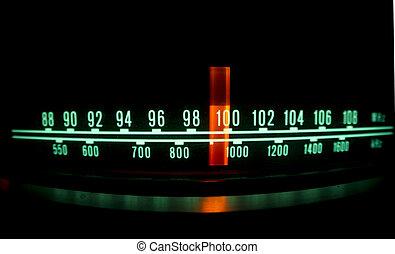 luci, quadrante, radio