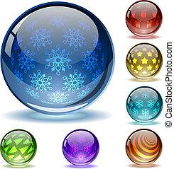 lucido, interno, astratto, globi, patterns10, file., natale, differente, colorito, sferico