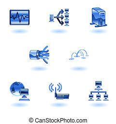 lucido, rete, icona computer, set