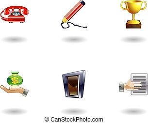 lucido, ufficio affari, set, icona