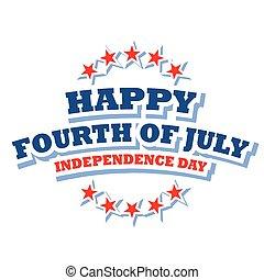 luglio, felice, logotipo, quarto, america