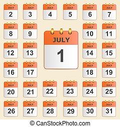 luglio, set, calendario, icone