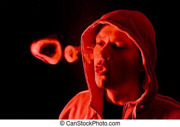 luminoso, anelli, rosso, fumo
