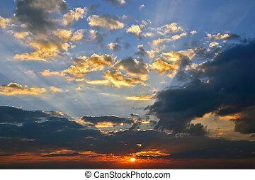 luminoso, cielo, soleggiato, alba