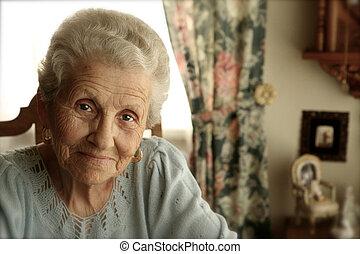luminoso, donna, occhi, anziano