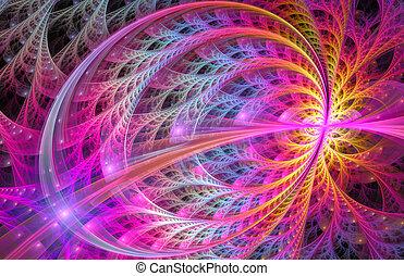 luminoso, floreale, fondo, fractal, illustrazione, ornamento