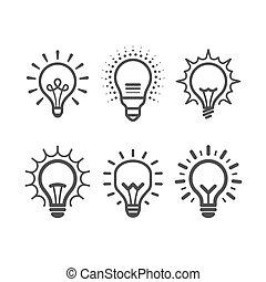 luminoso, luce, set, bulbo, icone