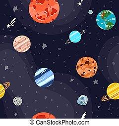 luminoso, modello, stars., pianeti, spazio