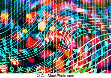 luminoso, notazione, astratto, forma, variopinto, code., illustration., fondo, musicale, binario