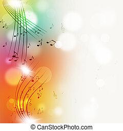luminoso, note, muisc, multicolor, fondo