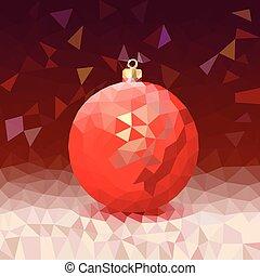 luminoso, palla, triangolo, natale, fondo