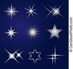 luminoso, set, stelle