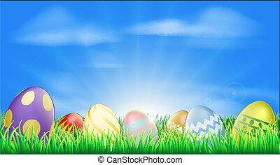 luminoso, uova pasqua, fondo