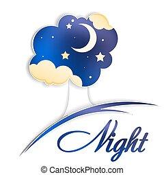 luna, cielo, nubi, albero, notte