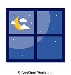 luna, disegno, finestra, nubi, vettore