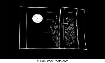 luna, finestra