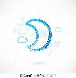 luna, grunge, icona