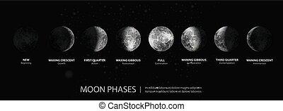 luna, illustrazione, vettore, eclisse totale
