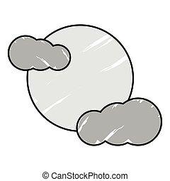 luna, nubi