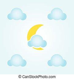 luna, nubi, icona