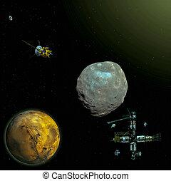 luna, phobos, missione, marte