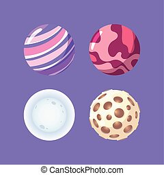 luna, pianeti, sistema solare, spazio, galassia, cartone animato